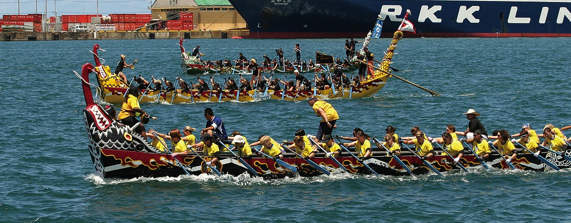 US Marine Corps doing the dragon boat race