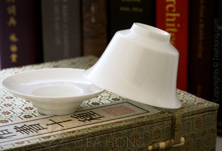 Classic White 150 Utility Gaiwan Bottom Up to Show Shape Profile