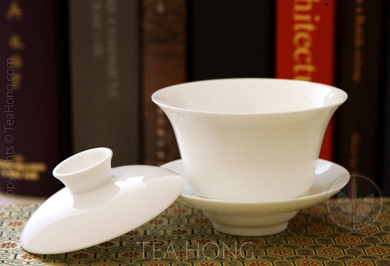 Classic White 150 Utility Gaiwan with Lid Open