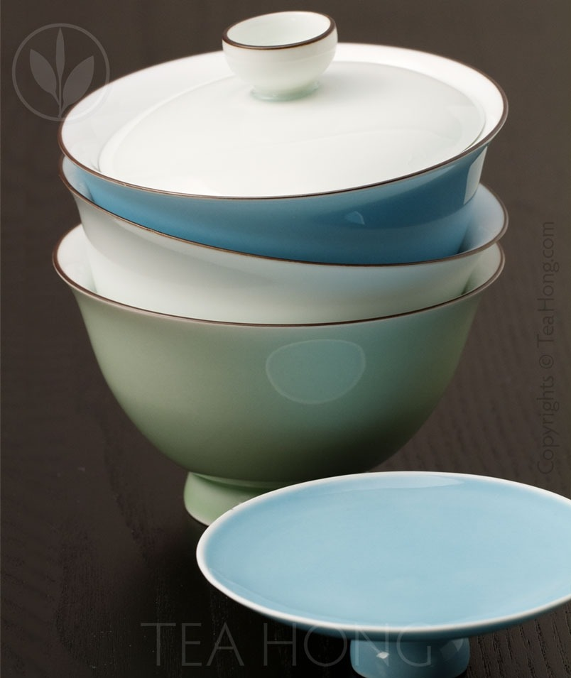 Jianzi Tall Foot 150ml Gaiwan comes in three colours: Moonlight White, Sky Blue, and Jade Green