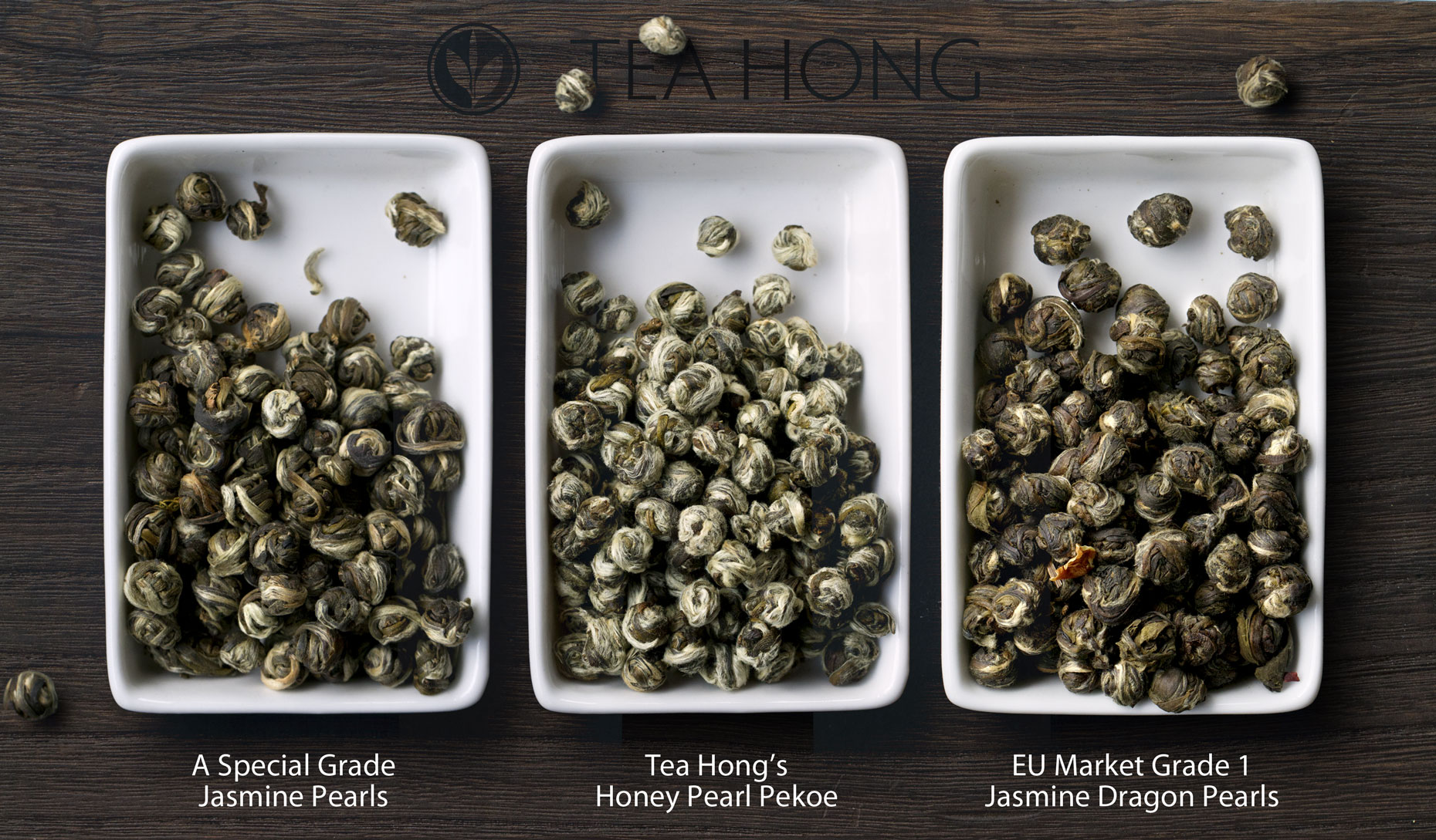 Comparing the tealeaves of two other jasmine pearls with that of Tea Hong's Honey Pearl Pekoe