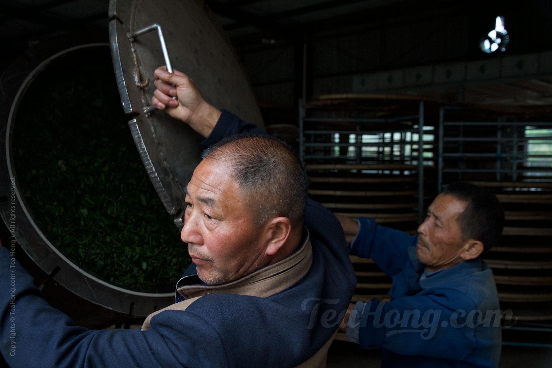 Workers closing the door to the GABA oxidation barrel