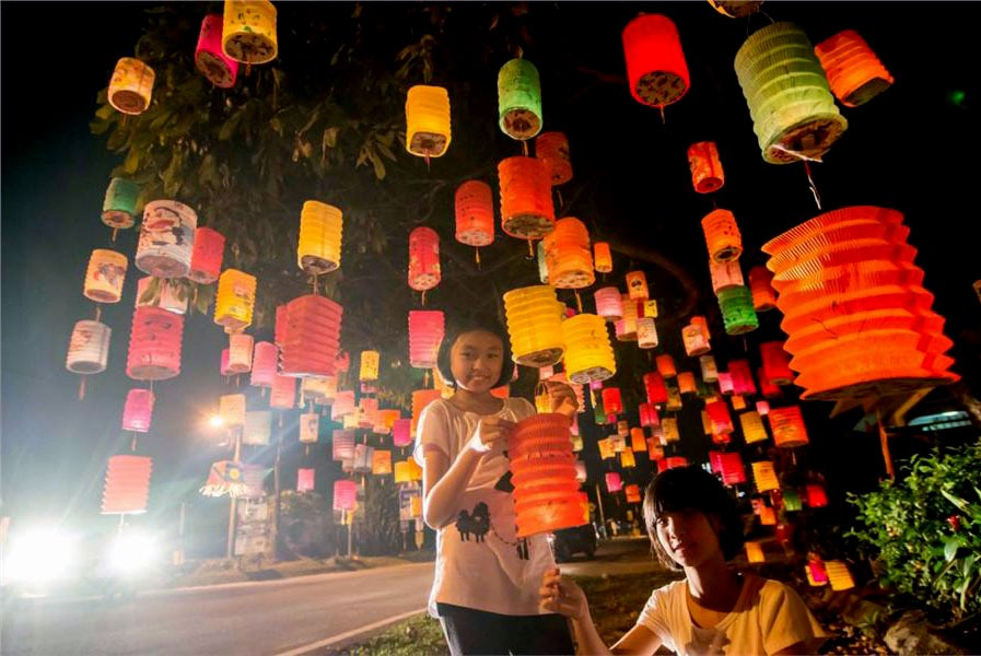 Kids with lanterns