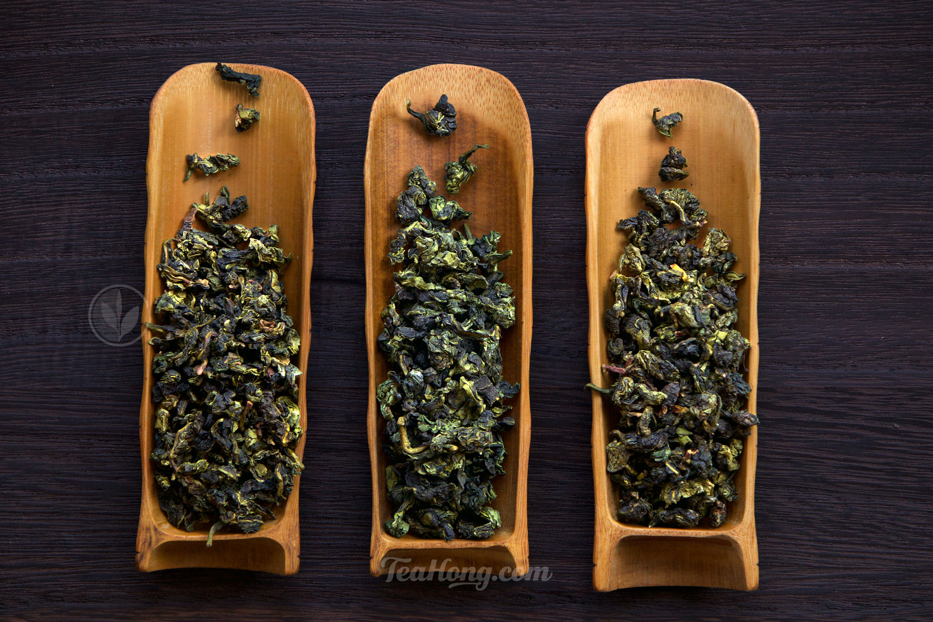 The leaves of three different Tieguanyins