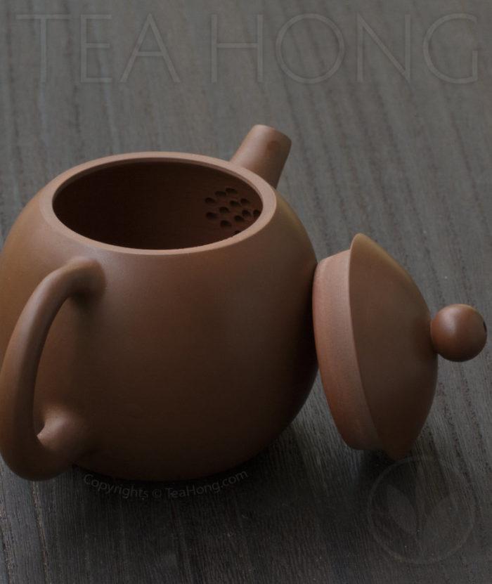Yunnan Zitao Teapot   Yau Cheng: Dragon Egg — Red, 3 quarter back