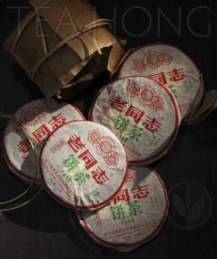 Tea Hong: Lao Tong Zhi 7548 2007, bamboo sleeve opens