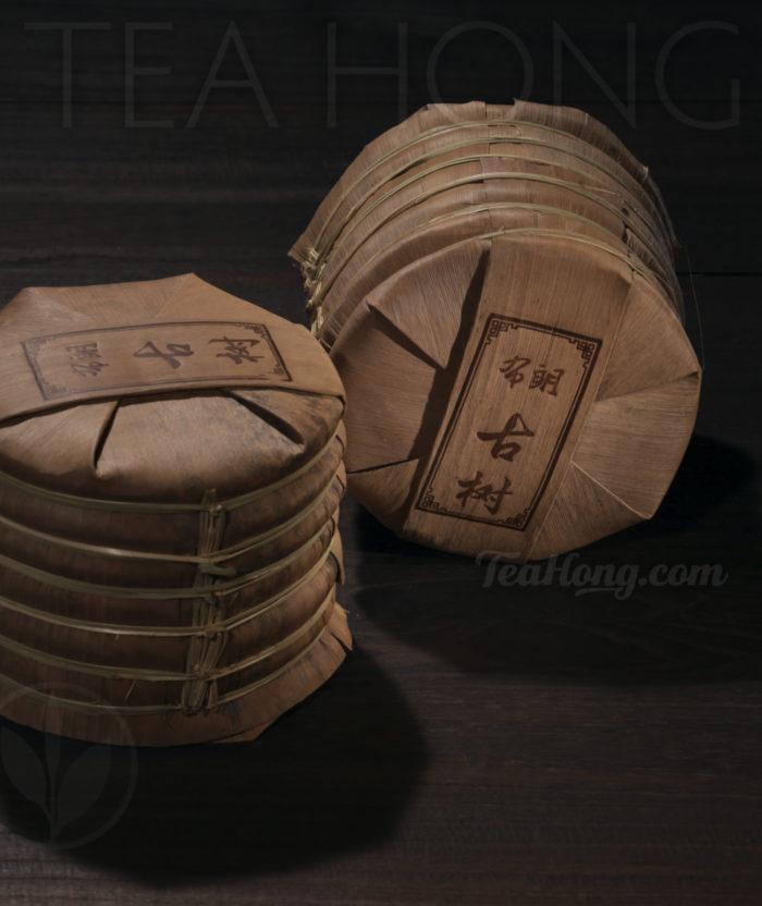 Bulang Old Tree Shu Puer, seven discus bundle in original bamboo sleeve